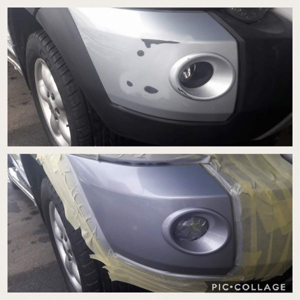 Bumper scuff repair before and after on a land rover in Sutton In Ashfield: Swipe To View More Images