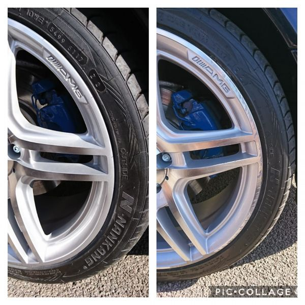 Before and after Mercedes AMG diamond cut wheels. Love the blue calipers on this aswell.: Swipe To View More Images
