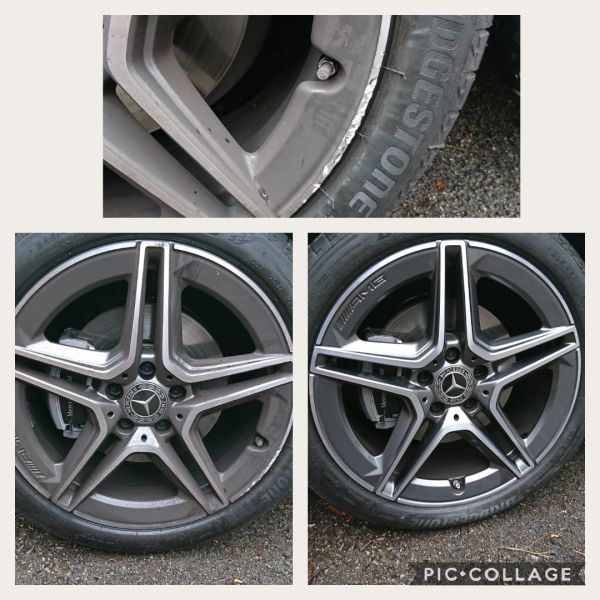 Diamond cut Mercedes wheels smart repaired in Leicester : Swipe To View More Images