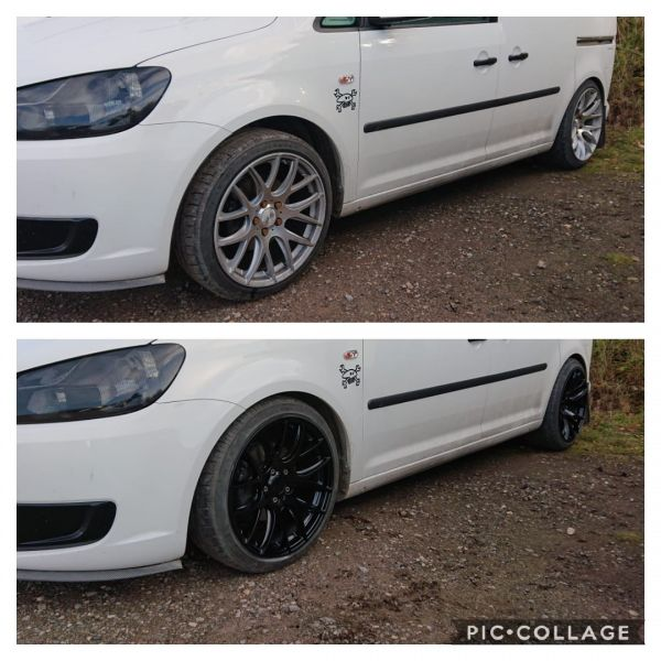 Colour change from silver to gloss black on this VW caddy in south nottinghamshire: Swipe To View More Images