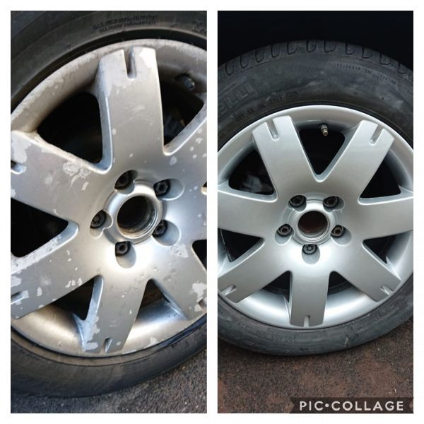 Lacquer peel and corrosion on these silver vw passat wheels. Fully refurbished to a high standard in kirkby in Ashfield.: Swipe To View More Images