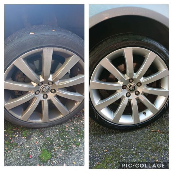 Silver jaguar alloy wheels repaired in Matlock Derbyshire : Swipe To View More Images