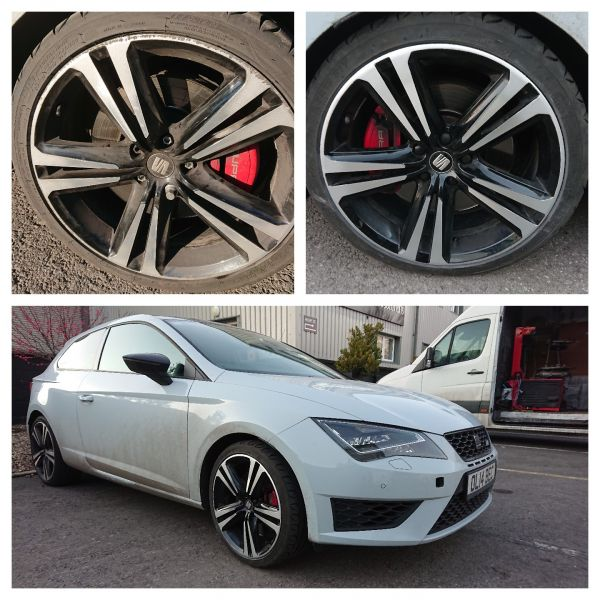 Diamond cut two tone black and silver seat wheels refurbed in Kirk Hallam near Ilkeston today: Swipe To View More Images