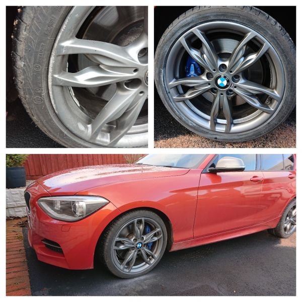 Ferric grey m sport bmw wheels repaired in Ashbourne. Looks lovely with the red car.: Swipe To View More Images