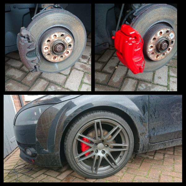 Fresh new red calipers. This customer in Tollerton took advantage of our February special offer on calipers painting. : Swipe To View More Images