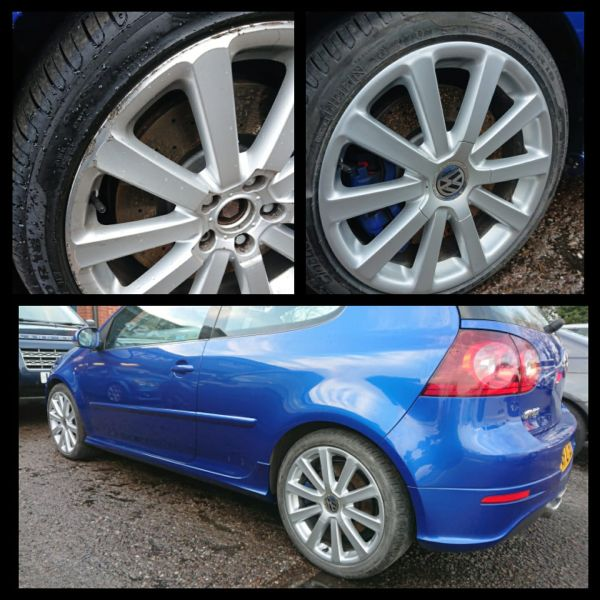 Refurbished silver alloy wheels on our mobile service in Belper looking much better: Swipe To View More Images