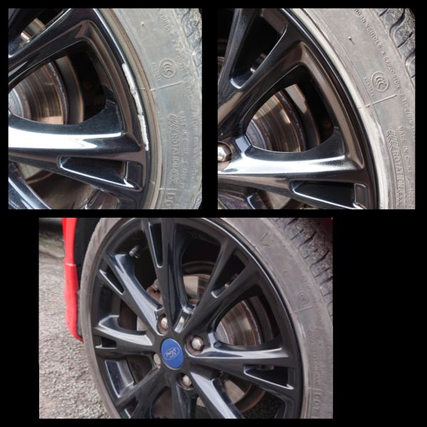 Gloss black alloy wheel kerb scratch on a ford repaired in Pinxton : Swipe To View More Images