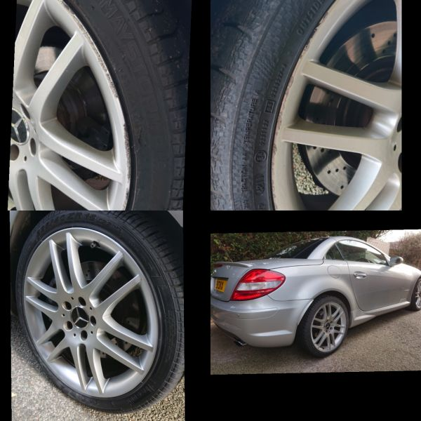 Mercedes SLK wheels refurbished in hyper silver in trowell near stapleford: Swipe To View More Images