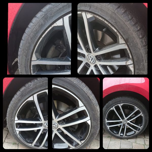 Before and after on these diamond cut alloy wheels on this golf in Spondon near Derby: Swipe To View More Images