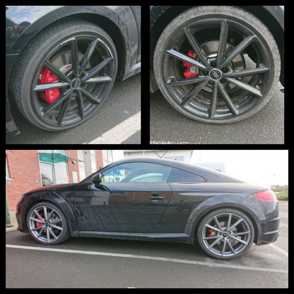 Colour change from gloss black to gun metal grey on this Audi tt in Shepshed, Leicester : Swipe To View More Images