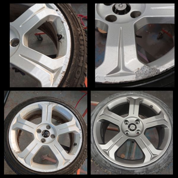 Before these Peugeot wheels were corroded; now they have been fully refurbished and sprayed in gun metal grey. At mansfield alloys: Swipe To View More Images