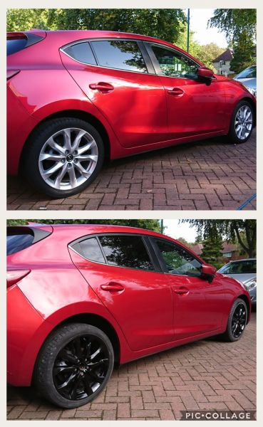 Colour change from silver to gloss black on a mazda in Beeston, Nottingham: Swipe To View More Images