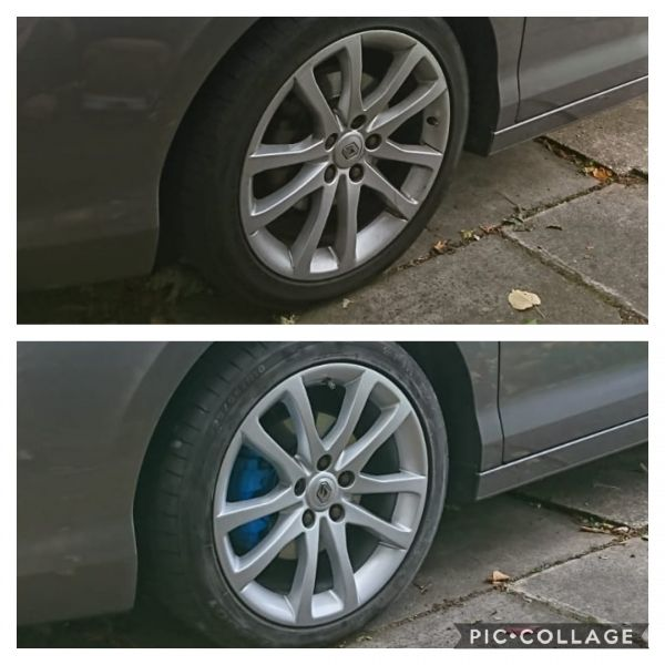 "Refurbished silver alloys and newly painted blue calipers on a Renault in Swadlincote. Mark says ""he is over the moon with the work and praises our great customer service."" : Swipe To View More Images"