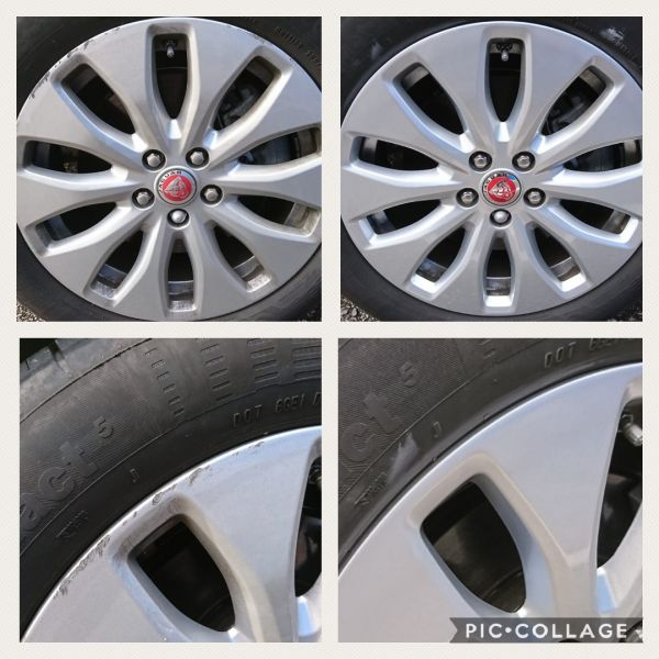 Kerb scuffs repaired on these silver jaguar alloy wheels in Bilborough, Nottingham : Swipe To View More Images