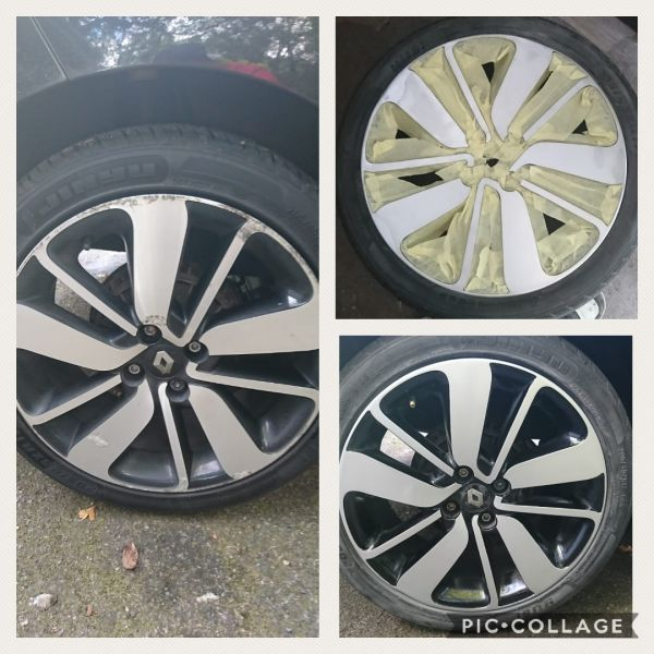 Diamond cut alloys with black inserts refurbished. We used smart repair techniques on these renault clio wheels near Burton upon Trent: Swipe To View More Images