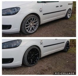 Colour change from silver to gloss black on this VW caddy in south nottinghamshire: Click Here To View Larger Image