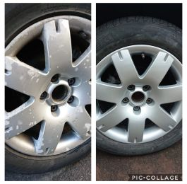Lacquer peel and corrosion on these silver vw passat wheels. Fully refurbished to a high standard in Sutton in Ashfield.: Click Here To View Larger Image