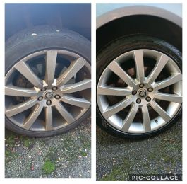 Silver jaguar alloy wheels repaired in Matlock Derbyshire : Click Here To View Larger Image