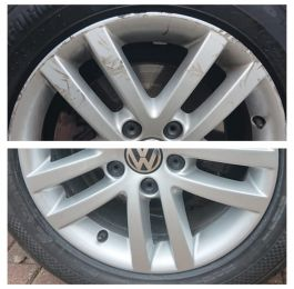 Before and after on these silver vw alloy wheels after fascia repair and respray in Sutton in Ashfield  : Click Here To View Larger Image