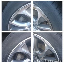 Kerb damage removed on these Citroen ds3 diamond cut wheels in Newark. We break the bead, sand out the damage and use specialist paint and lacquer for these wheel repairs.: Click Here To View Larger Image