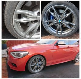Ferric grey m sport bmw wheels repaired in Ashbourne. Looks lovely with the red car.: Click Here To View Larger Image