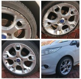 All four wheels repaired curb rash taken out on this Ford fiesta in Ashby de la zouch : Click Here To View Larger Image