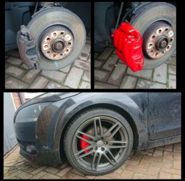 Fresh new red calipers. This customer in Tollerton took advantage of our February special offer on calipers painting. : Click Here To View Larger Image
