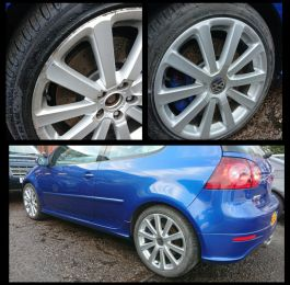 Refurbished silver alloy wheels on our mobile service in Belper looking much better: Click Here To View Larger Image