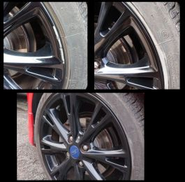 Gloss black alloy wheel kerb scratch on a ford repaired in Pinxton : Click Here To View Larger Image