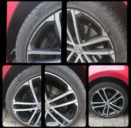 Before and after on these diamond cut alloy wheels on this golf in Spondon near Derby: Click Here To View Larger Image