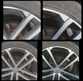 Two tone vw golf gtd alloy wheel repaired in Breaston, Derbyshire : Click Here To View Larger Image