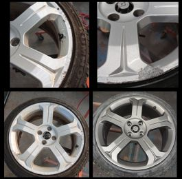 Before these Peugeot wheels were corroded; now they have been fully refurbished and sprayed in gun metal grey. At mansfield alloys: Click Here To View Larger Image