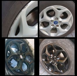 Colour change on these ford wheels to gloss black in Calverton: Click Here To View Larger Image