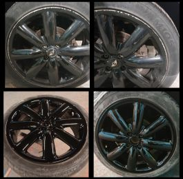 A quick gloss black repair on these mini wheels  in cromford near wirksworth: Click Here To View Larger Image