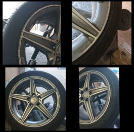 Smart repair on these diamond cut AMG Mercedes wheels in Wollaton by the wheel repair man ltd
