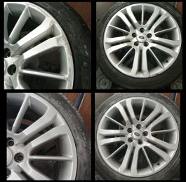 Land rover wheels refurbished back into original silver. This was a mobile repair done in Ripley, derbyshire: Click Here To View Larger Image