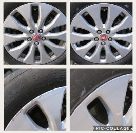 Kerb scuffs repaired on these silver jaguar alloy wheels in Bilborough, Nottingham : Click Here To View Larger Image