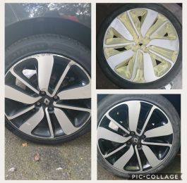Diamond cut alloys with black inserts refurbished. We used smart repair techniques on these renault clio wheels near Burton upon Trent: Click Here To View Larger Image